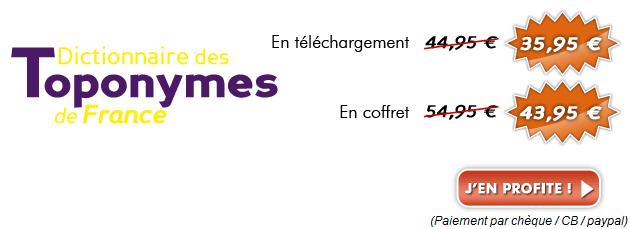 20 % de réduction sur Toponymes de France