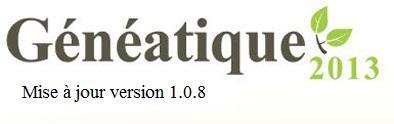 Mise à jour 1.0.8 de Généatique 2013