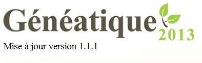 Mise à jour 1.1.1 de Généatique 2013