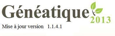 Mise à jour 1.1.4.1 de Généatique 2013