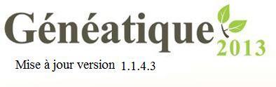 Mise à jour 1.1.4.3 de Généatique 2013