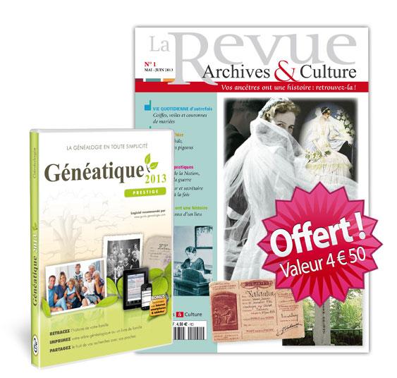 Le numéro 1 de la revue Archives et Culture offert avec Généatique