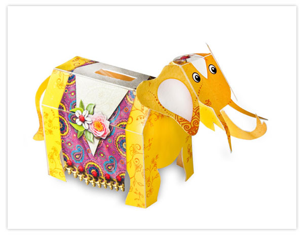 the elephant moneybox in paper